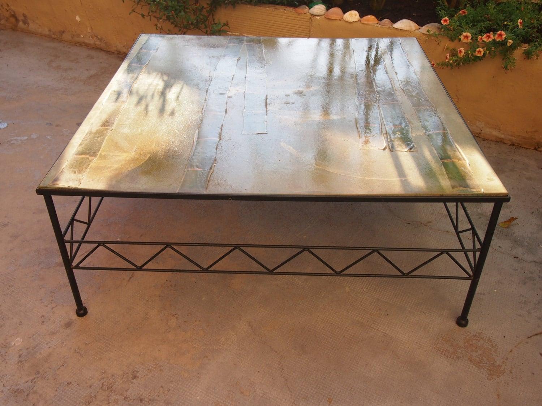 table basse en bois et acier vintage 1980 haute juice. Black Bedroom Furniture Sets. Home Design Ideas