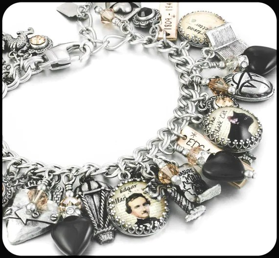 Edgar Allen Poe Literary Jewelry Author Jewelry Poe Charm Bracelet Poe Jewelry Gothic Jewelry Black and Gold Heart Jewelry