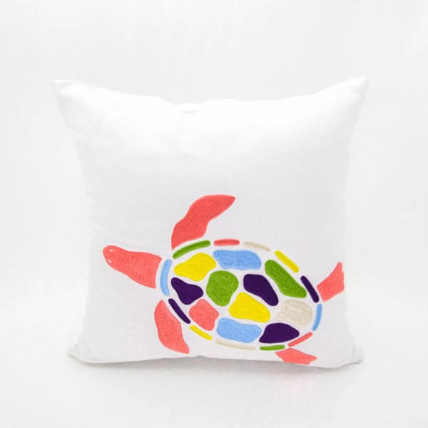 Sea Turtle Pillow Cover Colorful Embroidery White