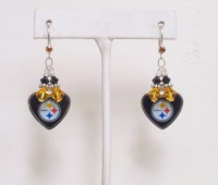 Pittsburgh Steelers Earrings Steelers Bling Black and Gold