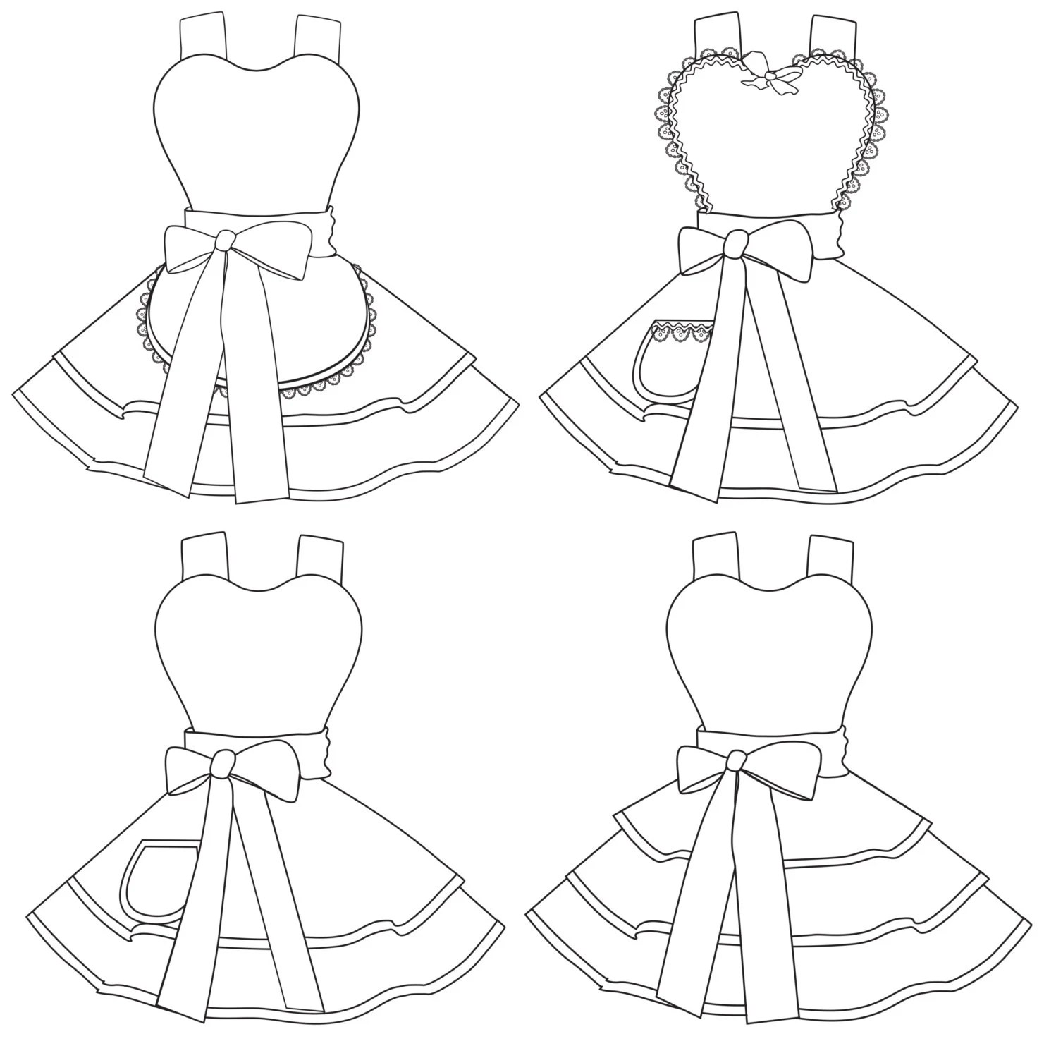 Design Your Own Apron 4 Coloring Pages Digital Instant