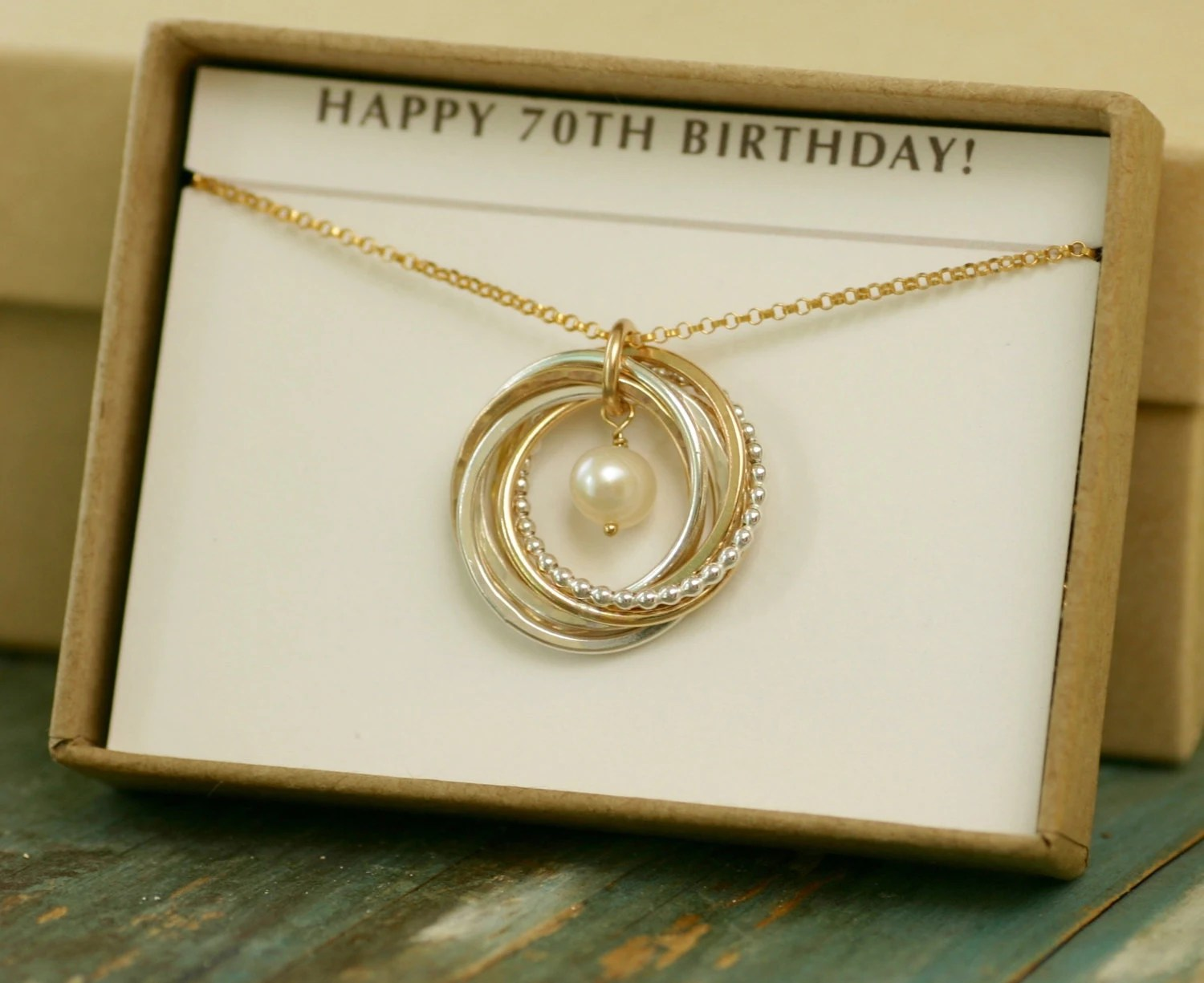 70th Birthday Gift 7 Year Anniversary Gift Mothers Necklace
