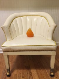 WHITE VINYL BARREL Chair Ribbed Tufted Rolling Chair ...