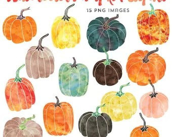 pumpkin & dahlias watercolor clipart
