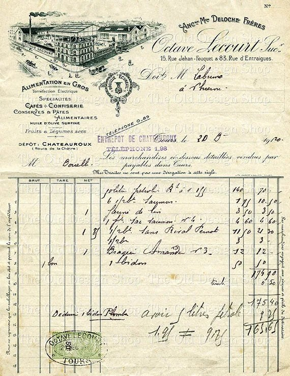Antique French Invoice Vintage Ephemera Receipt Dec 1920