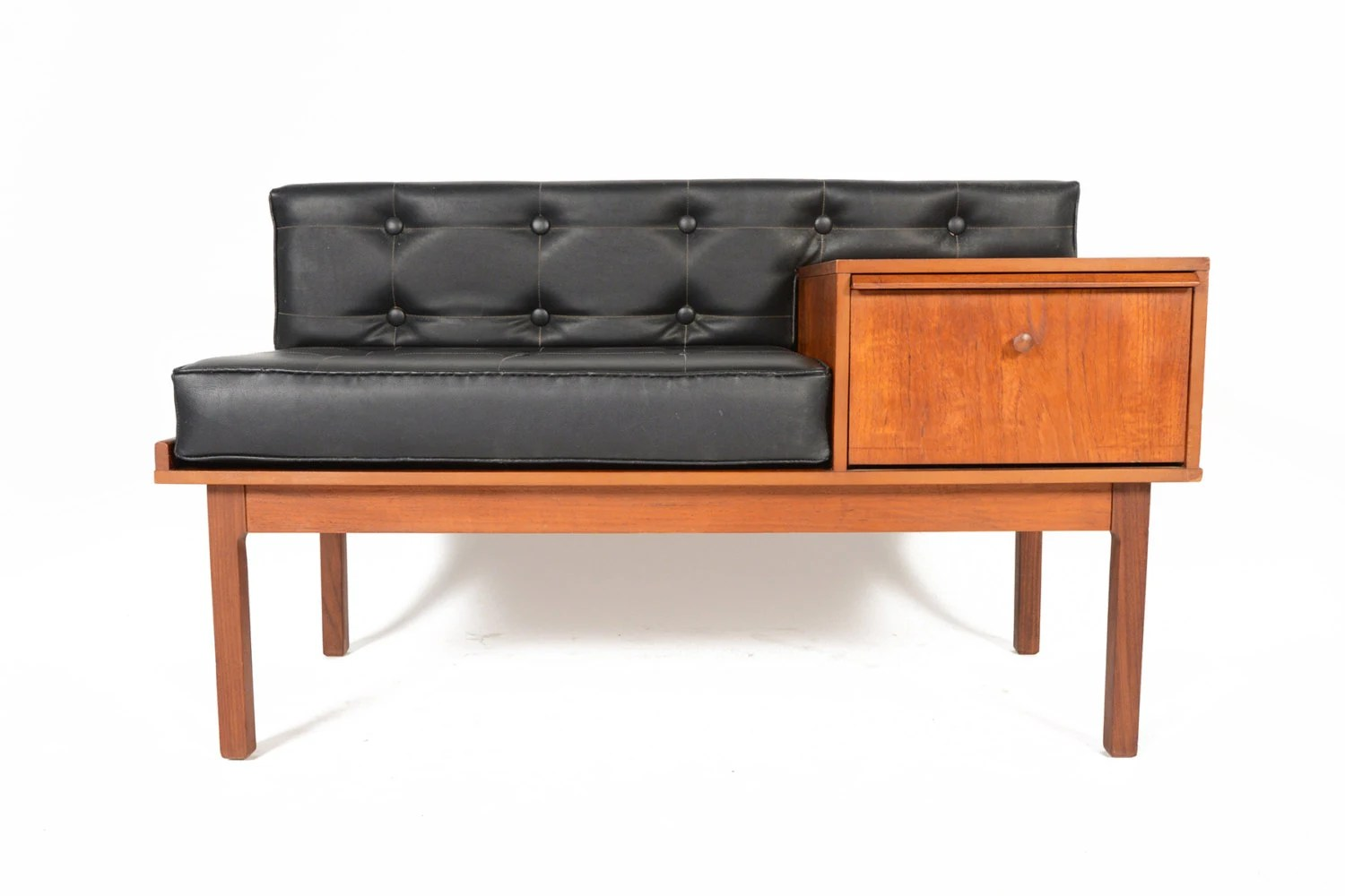 Mid Century Modern Chippy Telephone Bench In Tufted Black Vinyl Haute Juice