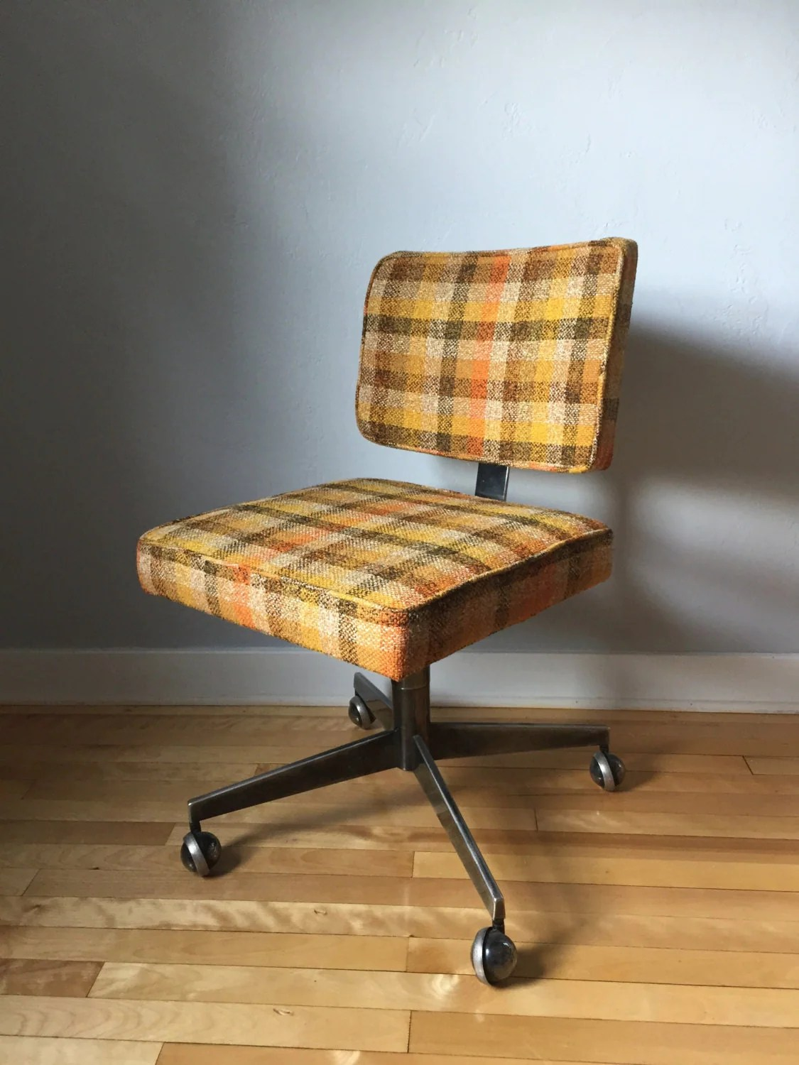 Plaid Chair Free Shipping Retro Plaid Desk Chair Mid Century Chrome Desk