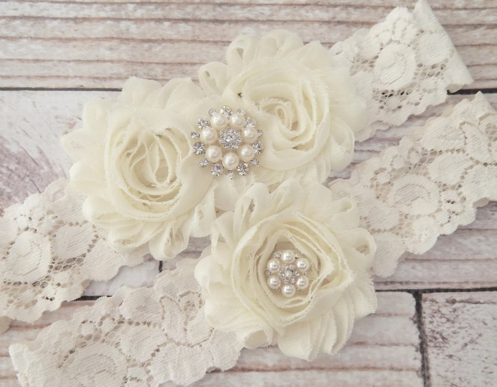 Your Color Ivory Wedding Garter Set Wedding Garter Bridal
