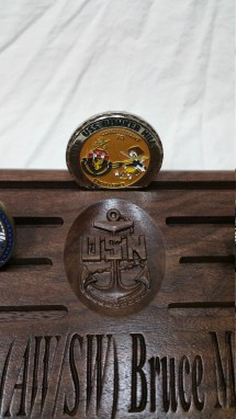 Military Challenge Coin Display With 2 Rank Warfare Insignia - Year