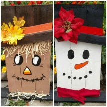 Reversible Snowman Scarecrow Reclaimed Recycled Renewed Wood