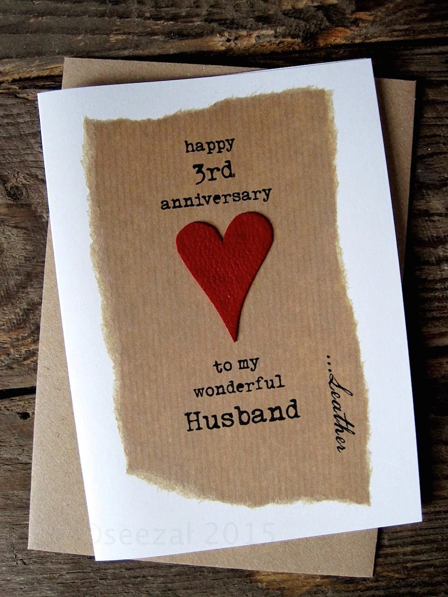 3rd Wedding Anniversary Card Leather Traditional By