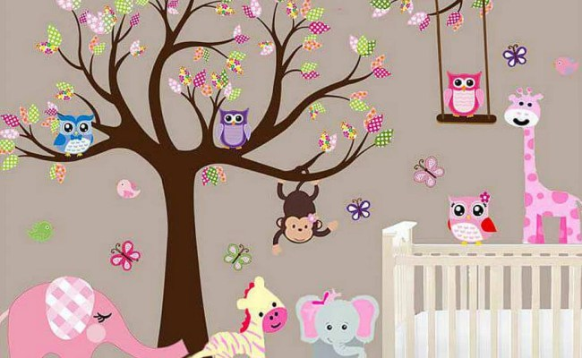 Large Baby Nursery Woodland Wall Decal Baby Girl Wall Decal