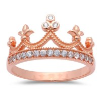 Half Eternity Crown Ring Sterling Silver Rose Gold King ...