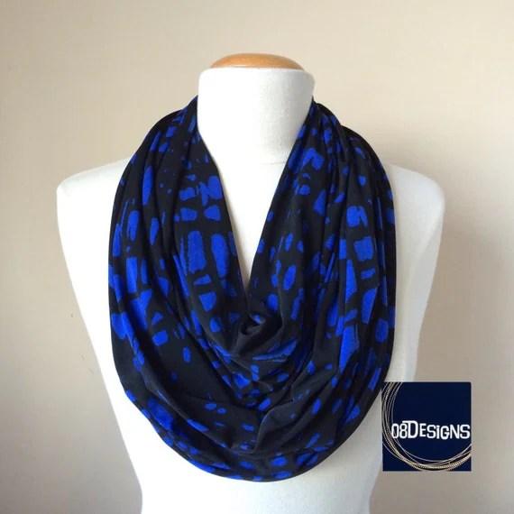 Items similar to Womens Blue and Black Giraffe Infinity