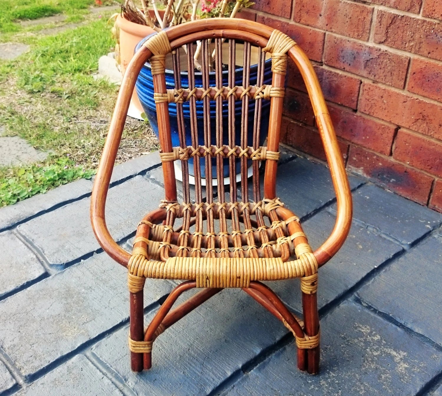 childs rattan chair hanging chairs for sale vintage bamboo and wicker child 39s lawn