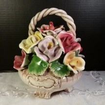 Capodimonte Flower Basket In Italy Vintage Floral