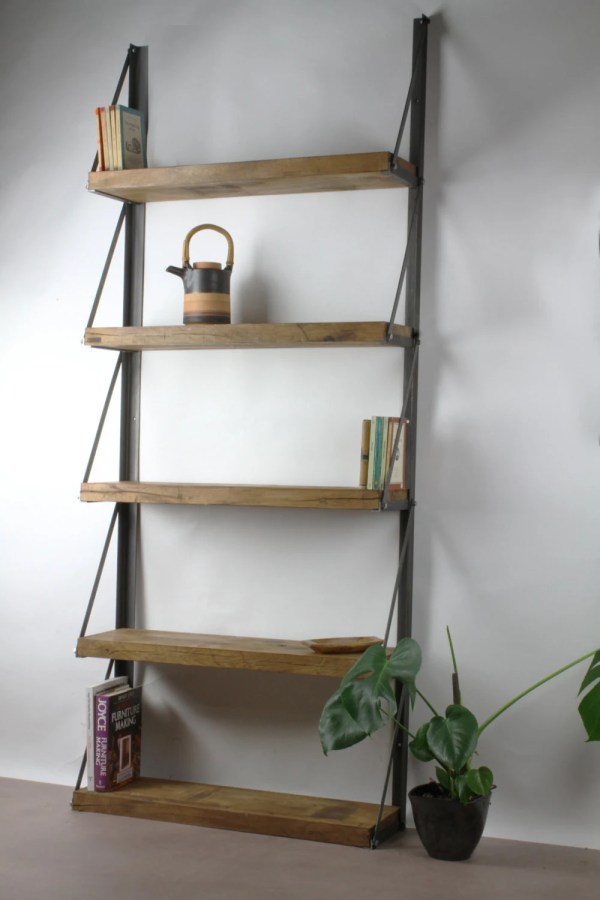 Konk Wall Mounted Oak Bookcase Shelving Industrial Bespoke