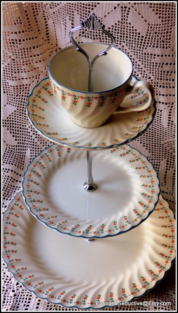 Three Tier Cake Stand Handmade Vintage Johnson Brothers