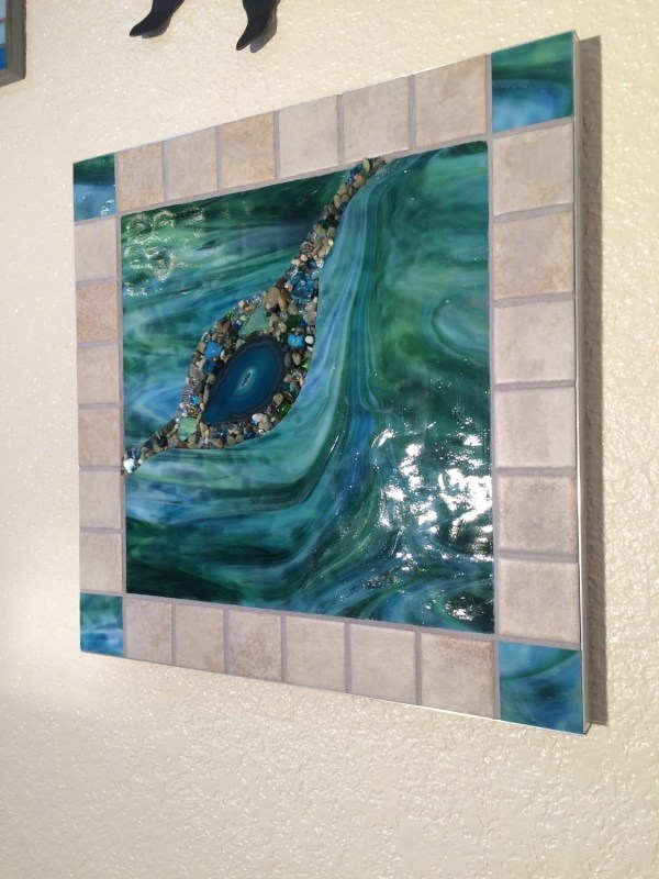 Stained Glass Wall Hanging Mosaic Abstract Art Mixed Media
