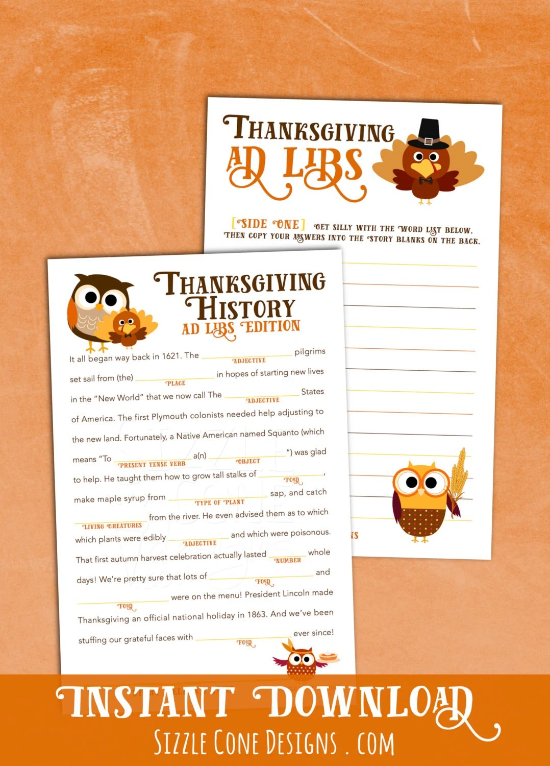 Printable Thanksgiving Madlib Holiday Party Game Instant