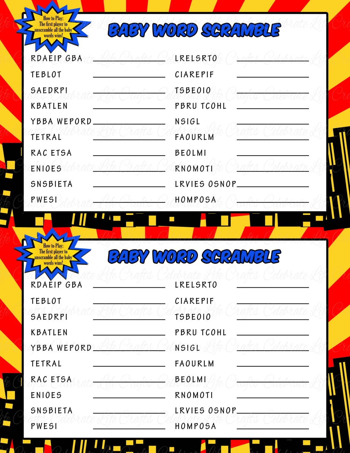 Superhero Baby Shower Word Scramble Game Printable Baby