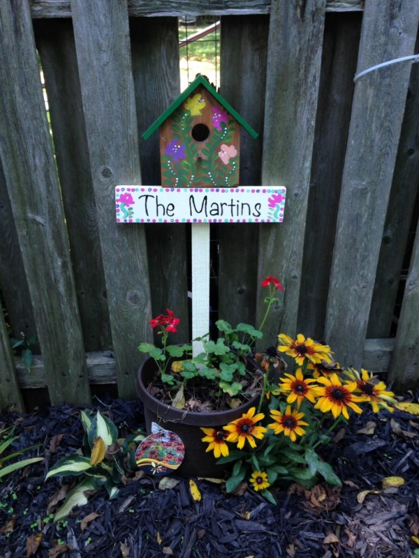 Personalized Birdhouse Lawn Stake Yard Garden