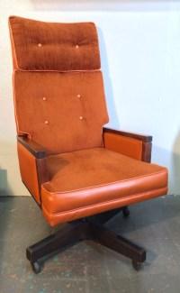 LARGE High Back Orange Velour Mid Century Modern Executive