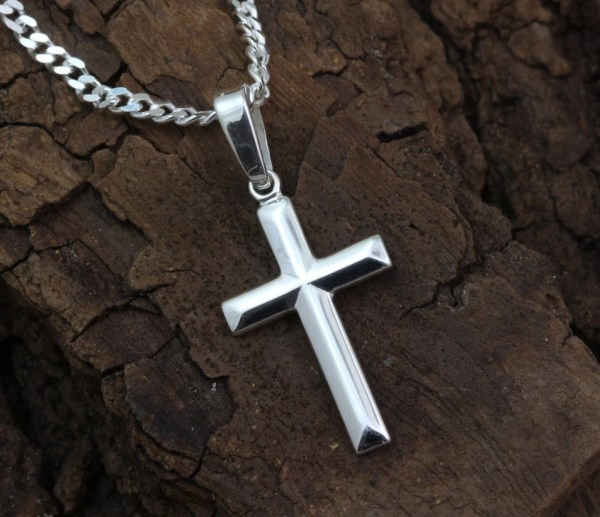 Small Silver Cross Necklace Baptism Boys