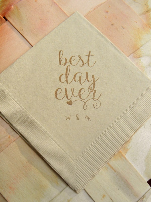 Personalized Best Day Ever Light Burlap Brown Rustic Wedding