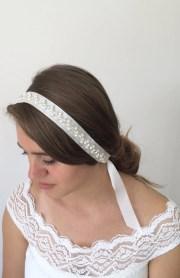 bridal hair wrap embroidered ribbon