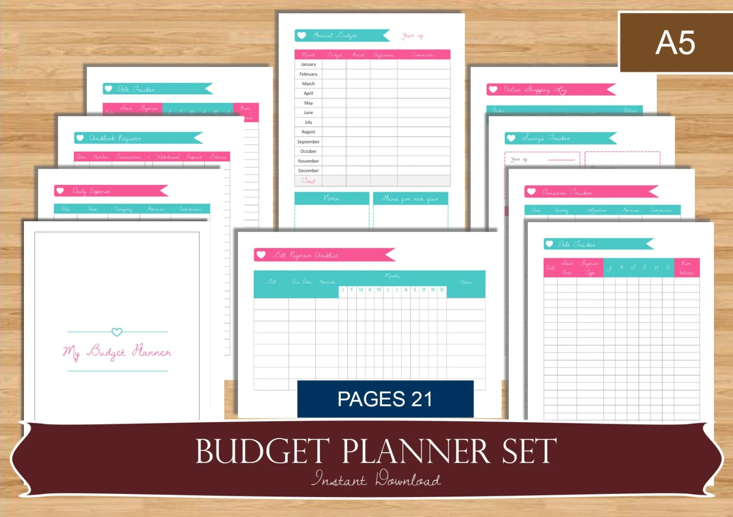 A5 Budget And Bill Payment Planner Set With Divider Page