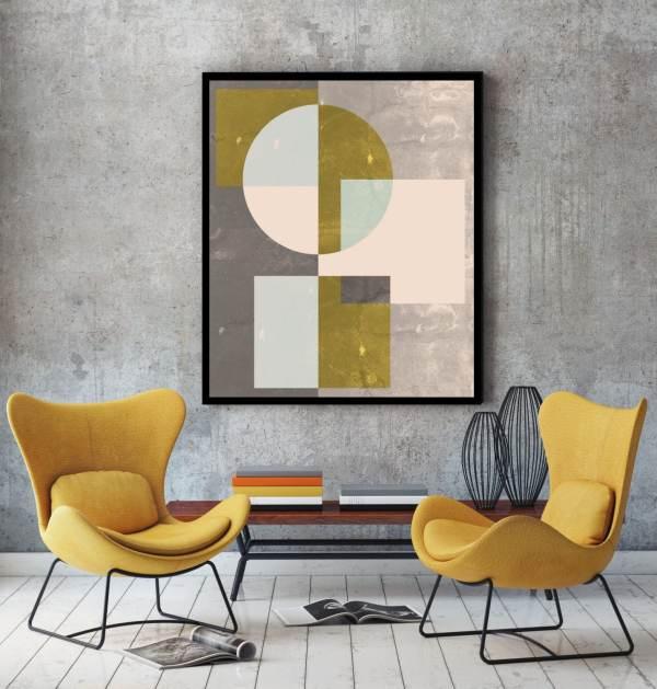 Mid Century Wall Art Print Geometric Abstract