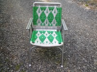 Macrame lawn chair recycled frames hand woven chair green