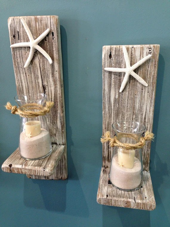 lake house living room ideas nautical decor set of 2 reclaimed wood sconces with starfish-wall