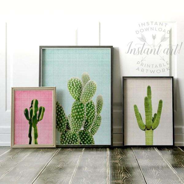 Cactus Print Wall Art Prints Printable Set Modern