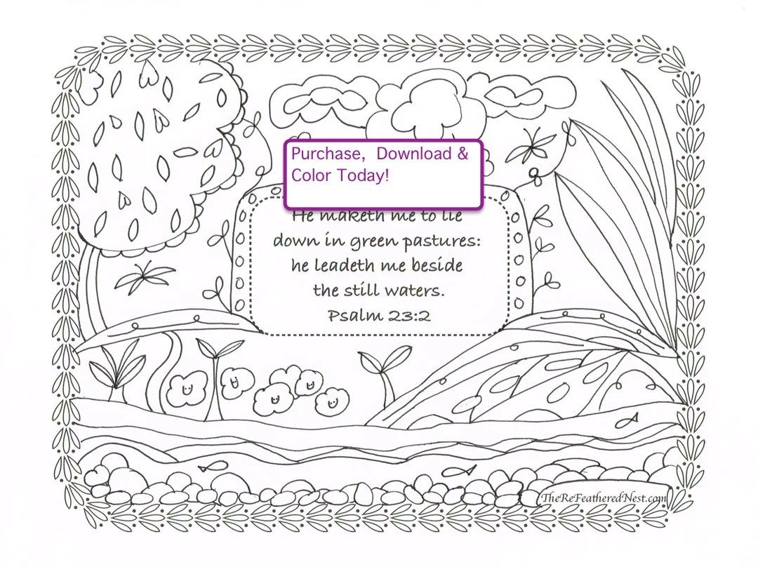 Psalm 23:4 Downloadable Scripture Coloring Page