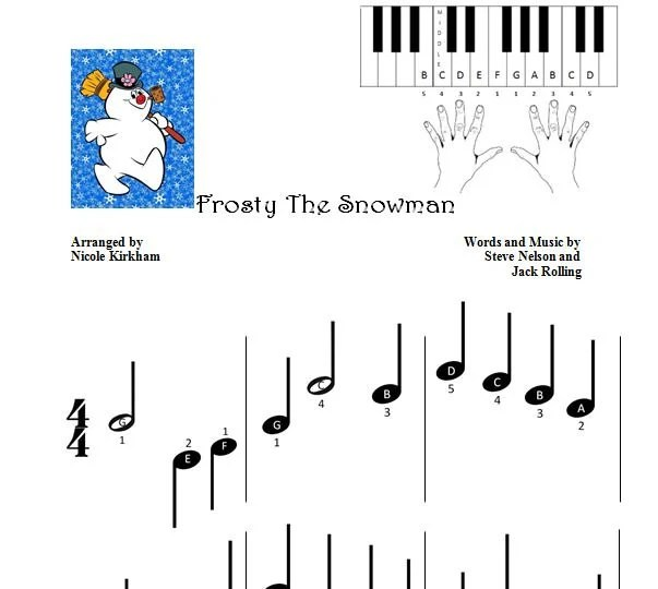 Frosty the Snowman Beginner Piano Sheet by NicoleKirkhamMusics