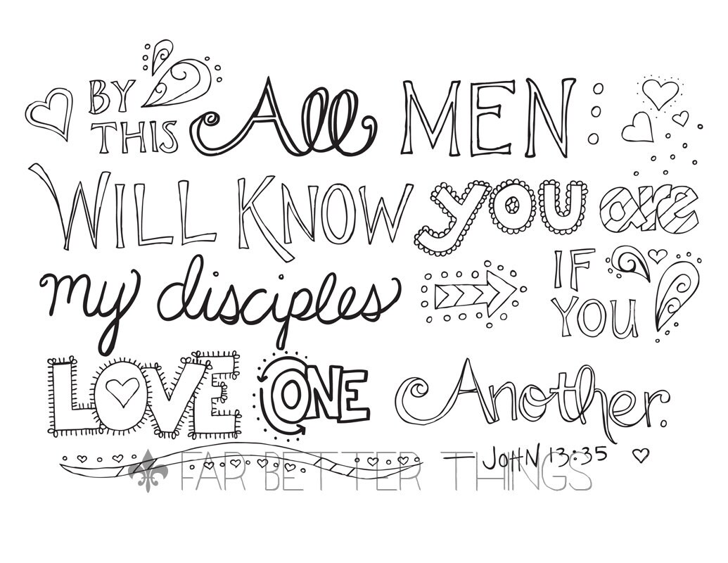Bible Verse Coloring Page John 13:35 Love One Another