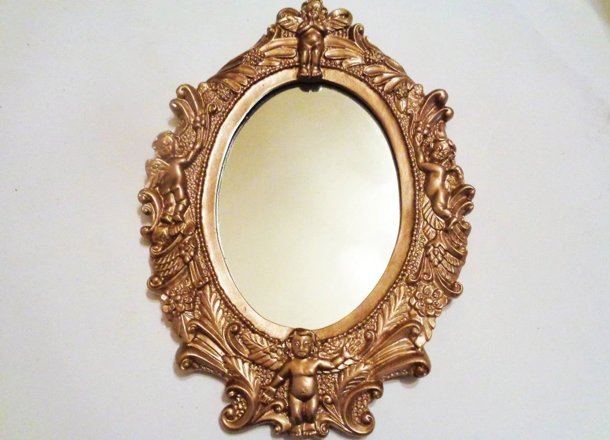 Mirror Oval Ornate Mirror Antique Mirror Wall Hanging Gold