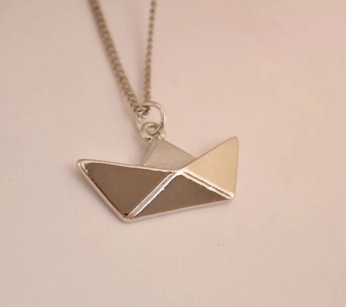 silver boat necklace origami paper boat necklace sail by