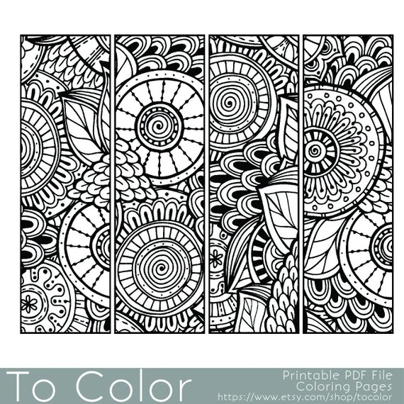 printable pattern coloring page bookmarks pdf / jpg instant