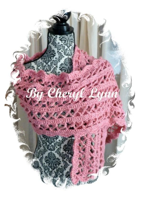 Pink Breast Cancer Shawl Crocheted Scarf