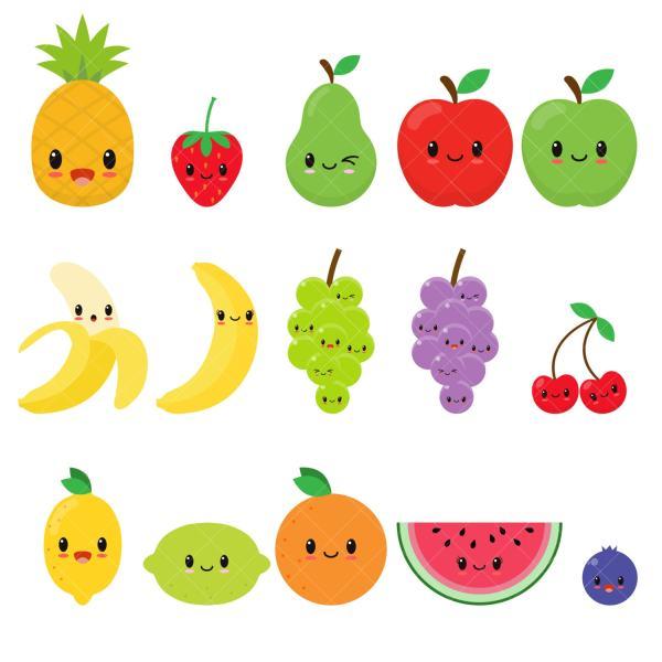 Kawaii Fruit Cute Clipart Happy Clip Art