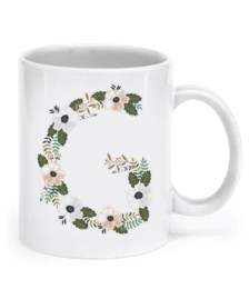 "Floral Monogram Letter ""G"" 11oz Coffee Mug, Tea Mug"
