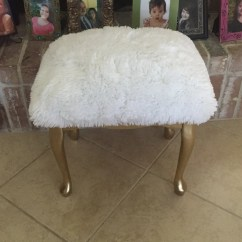 Vanity Chair White Fur Computer High Back Stool With Gold Legs And Faux