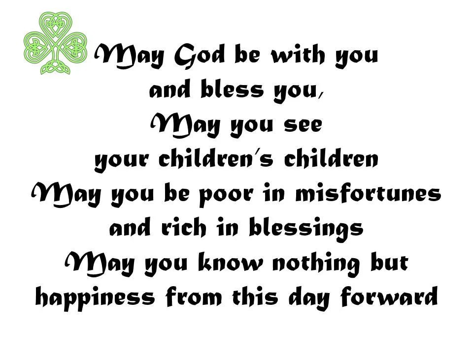 Irish Wedding Blessing Print Downloadable Irish Wedding