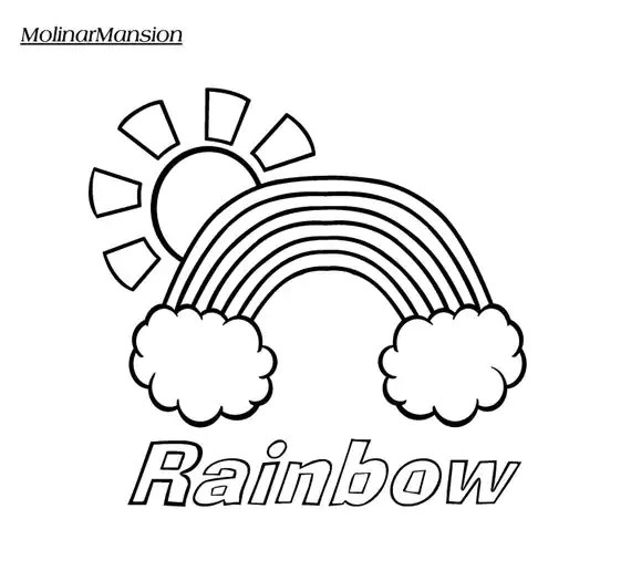 Items similar to Rainbow In Clouds With Sun Coloring Page