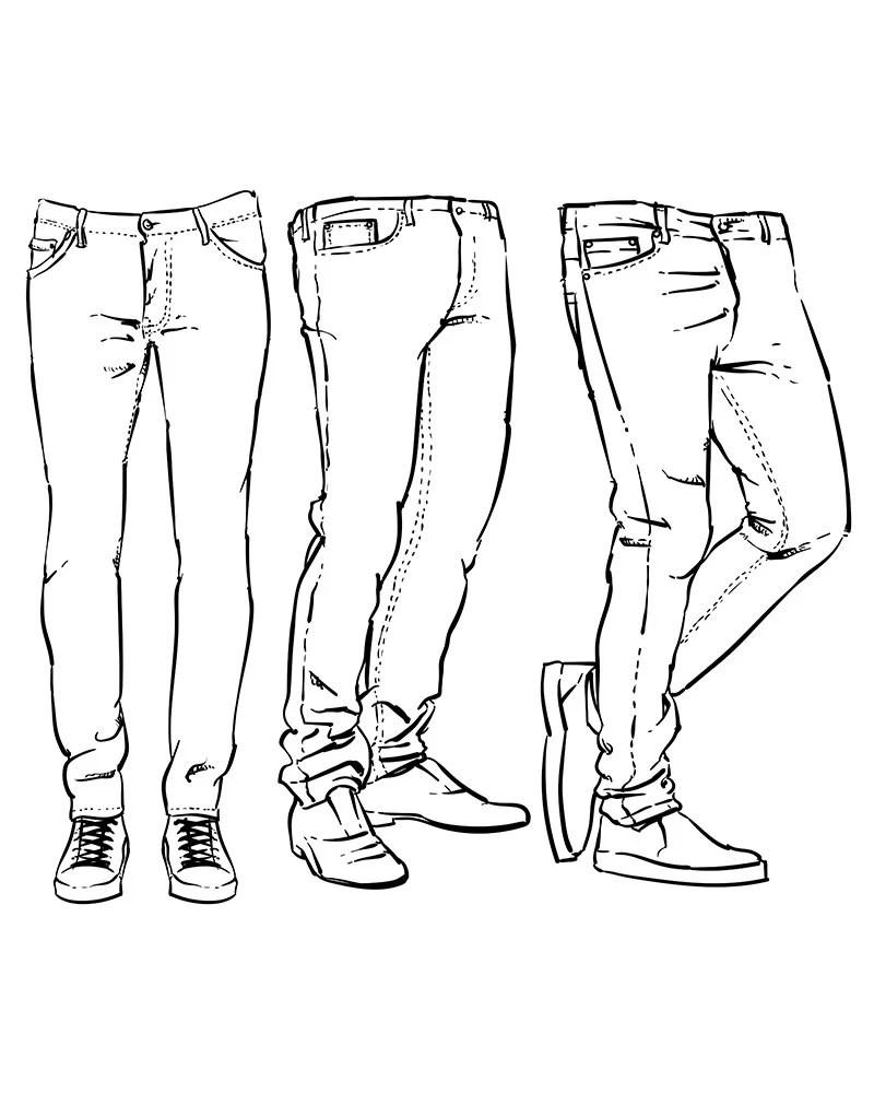 Hand drawn fashion design men's jeans outline. clipart
