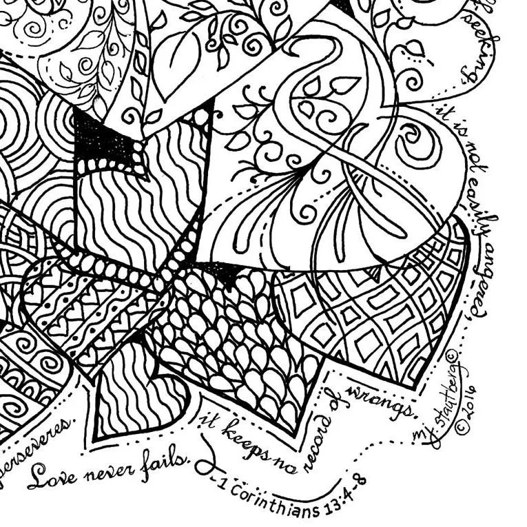 Coloring Page Hand Drawn Love is Patient Hearts