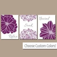 Purple BATHROOM WALL Art CANVAS or Prints Bathroom Decor